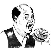 Man and burger. Ink black and white cartoon of a gentleman eating a burger Stock Photography