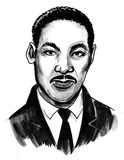 Luther Martin King. Ink black and white drawing of American politician Martin Luther King royalty free illustration