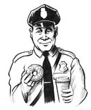 Kind cop. Ink black and white drawing of a cute cop with a cup of coffee and donut Stock Image