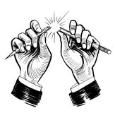 Hands breaking pencil. Ink black and white drawing of a hands breaking pencil royalty free illustration