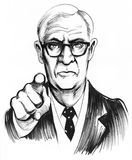 Serious boss. Ink black and white drawing of a serious looking man pointing at viewer Stock Photos