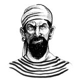 Pirate character. Ink black and white illustration of a bearded pirate with a earings Royalty Free Stock Images