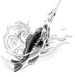 Fishing sketch. Ink black and white illustration of a fish a fishing hook Royalty Free Stock Photo