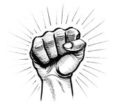 Rebel fist. Ink black and white illustration of a hand fist royalty free illustration