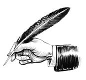 Hand with a quill. Ink black and white illustration of a hand holding a writing quill stock illustration