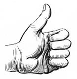 Thumb up. Ink black and white illustration of a hand showing thumb up royalty free illustration