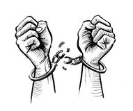 Breaking free. Ink black and white illustration of a hands breaking handcuffs stock illustration