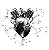 Heart as a motor. Ink black and white illustration of a human heart working as a motor Stock Photos