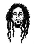 Bob Marley. Ink black and white illustration of a Jamaican reggae star Bob Marley Stock Photos