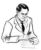 Signing a contract. Ink black and white illustration of a man signing a contract royalty free illustration