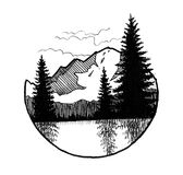 Mountain and trees. Ink black and white illustration of a mountain, forest and a lake in a circle shape royalty free illustration