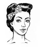 Pin up hairstyle. Ink black and white illustration of a pretty female with a pinup hairstyle vector illustration