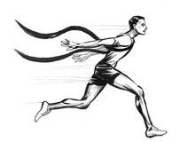 Crossing finishing line. Ink black and white illustration of a running athlete crossing finishing line Royalty Free Stock Image