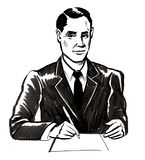 Businessman signing a contract. Ink black and white illustration of a smiling businessman signing a contract Stock Photography