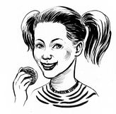 Girl eating cookie. Ink black and white illustration of a smiling girl eating a cookie Royalty Free Stock Photo