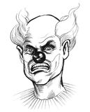 Evil clown. Ink black and white portrait of an evil mad clown Stock Image