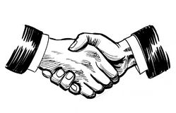 Handshake. Ink black and white retro styled illustration of a handshake royalty free stock image
