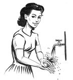 Woman washing hands. Ink black and white retro styled illustration of a pretty woman washing her hands vector illustration