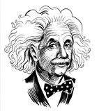 Albert Einstein. Ink black and white sketch of an Albert Einstein stock illustration