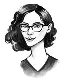 Pretty girl in glasses. Ink black and white sketch of a beautiful female in glasses Royalty Free Stock Images