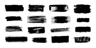 Free Ink Blob Brush. Black Paint Strokes With Dirty Grunge Texture, Brush Stains Splatters And Drips. Vector Isolated Set Of Stock Photography - 176433822