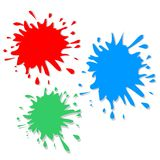 Ink blot. Red green and blue  ink blots Stock Photos