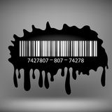 Ink Blot with Barcode. On Grey Background stock illustration