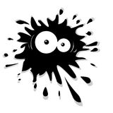 Ink blot cartoon. Cartoon black ink blot with eyes Royalty Free Stock Photos