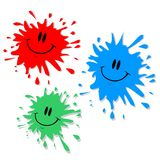 Ink blot characters. Red green and blue ink blots royalty free illustration