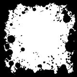 Ink blot grunge square frame, black drops on white background. Royalty Free Stock Photos