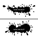 Ink blot, splash. Vector set of wide ink splashes, ink blots. Splatter collection royalty free illustration