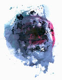Ink blotch. Scanned ink blotch on paper. Abstract composition stock illustration