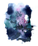 Ink blotch. Scanned ink blotch on paper. Abstract composition vector illustration