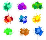 Ink blots. Color ink blots isolated on white for design royalty free illustration