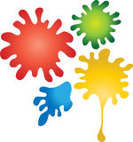 Ink blots. Red, green, yelloiw & blue ink blots Royalty Free Stock Images