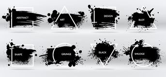 Ink blots. Abstract shapes, frames with black brushstroke grunge texture. Isolated border vector set