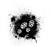 Ink blots and footprint Stock Image