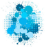 Ink blots and halftone pattern. Set of ink blots and halftones patterns in blue colors Stock Photo