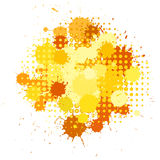 Ink blots and halftones patterns in yellow colors Stock Image