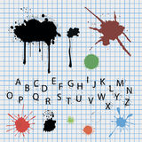 Ink blots. Ink blots, spots and original font royalty free stock image