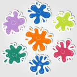 Ink blots stickers Royalty Free Stock Images