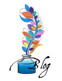 Ink Bottle feather pen blog Stock Images