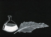 Ink bottle and a feather - white ink on black canvas. A symbolic image of writing, poetry, correspondence made of a inkpot and a feather with white ink on black Stock Photo