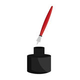 Ink bottle and pen icon Stock Image