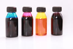 Ink bottles stock images