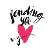 Ink Brush Hand Lettering. Sending You My Heart. Modern Calligraphic Handwritten Background. Hand Drawn Vector Illustration. Stock Photos