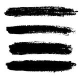 Ink Brush line collection, set . Grunge dry Stroke. Royalty Free Stock Photos
