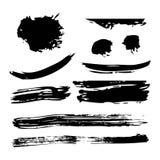 Ink brush stroke different grunge art texture dirty creative element paintbrush. Vector illustration Stock Photography