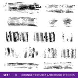 Ink Brush Strokes Grunge Collection. Dirty Design Elements Set. Paint Splatters, Freehand Grungy Lines. Vector illustration royalty free illustration