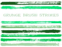 Ink brush strokes isolated design elements. Set of paint lines. Artistic stripes, textured paintbrush stroke shapes. Collection of ink brushes, stripes stock illustration